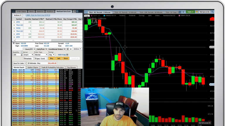 Ipad with image of day trading courses